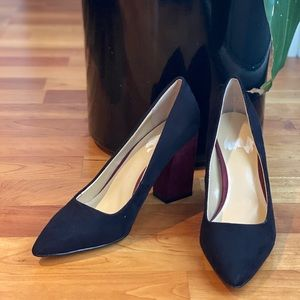 EXPRESSION Black Maroon Suede Block High Heels